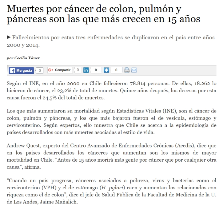 Laboratorio De Comunicaciones Celulares Deaths From Colon Lung And Pancreatic Cancer Are The Fastest Growing In 15 Years